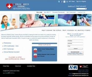 Medical Career Training Website Screenshot